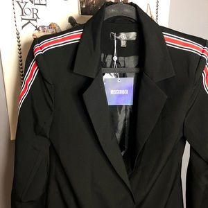 Contrast Side Stripe Blazer Shift Dress
